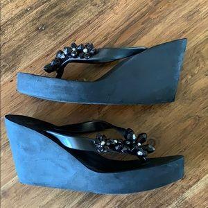 BCBG Black Bling Wedged Sandal